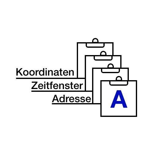 Koordinaten, Zeitfenster und Adresse